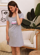 Embroidered Slogan Nightgown, Grey
