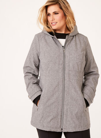 Hooded Softshell Coat, Grey, hi-res