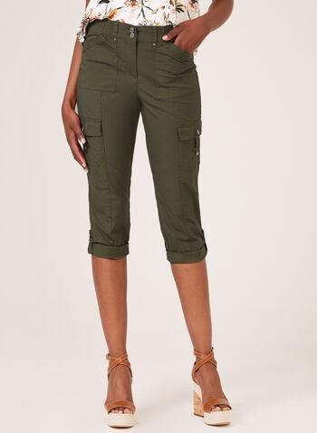 Modern Fit Cargo Capri Pants, Green, hi-res