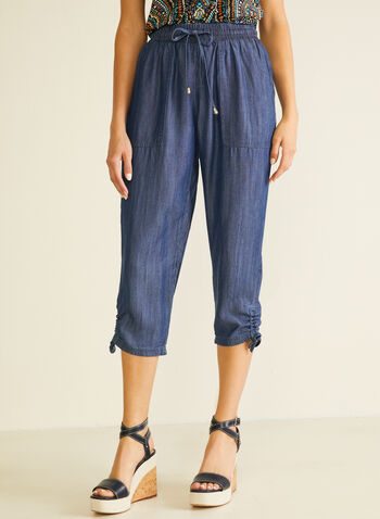 Tencel Cargo Capri Pants, Blue,  capris, pull-on, denim, tencel, drawstring, cargo, belt, pockets, spring summer 2020