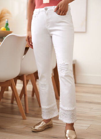 Embellished Flare Leg Pants, White,  spring summer 2021, made in canada, pants, jeans, wide leg, flare leg, mid rise, fray, frayed hem, embellishment, embroidery, pearls, button, zipper, pockets, belt loops