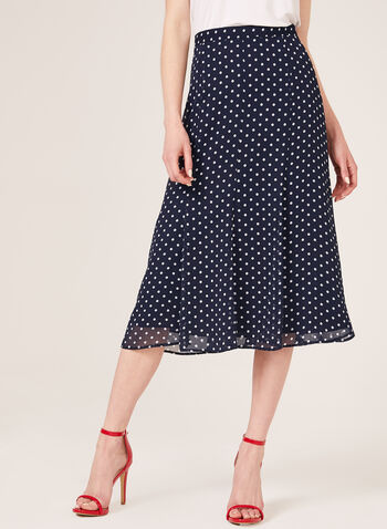 Polka Dot Print Gored Skirt, Blue, hi-res