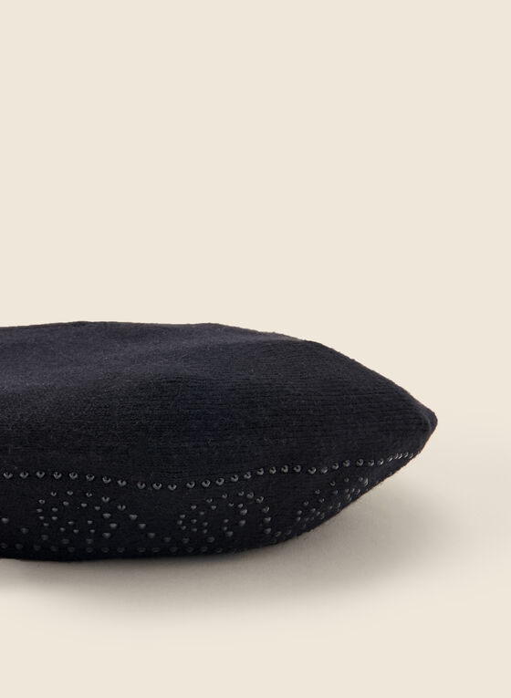 Rhinestone Detail Wool Blend Beret, Black