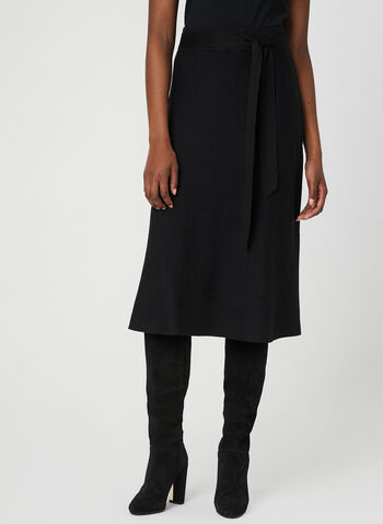 Jules & Leopold - Flared Knit Skirt, Black, hi-res