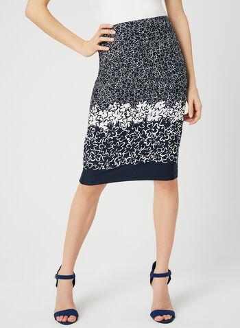 Floral Print Jersey Skirt, Blue, hi-res