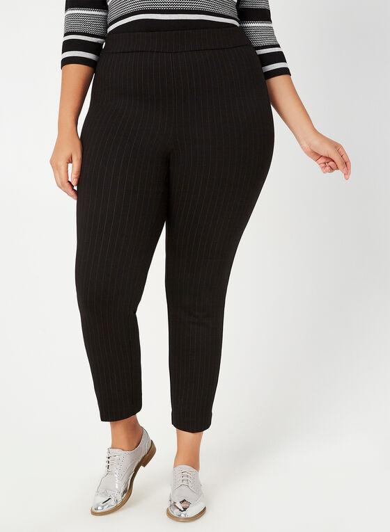 Pantalon coupe cité à fines rayures, Noir, hi-res