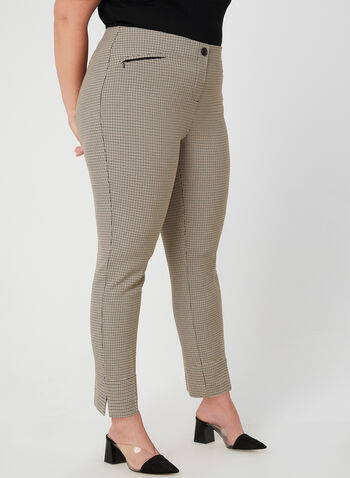 City Fit Printed Pants, Brown, hi-res,  fall winter 2019, houndstooth, ankle length, slim leg