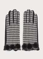 Gants tactiles tricot pied-de-poule avec liseré de cuir, Noir, hi-res