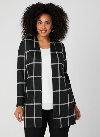 Plaid Print Open Front Top, Black, hi-res