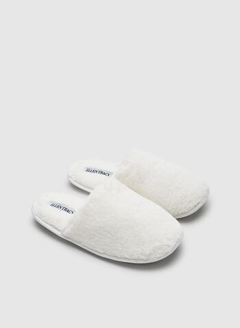 Ellen Tracy - Faux Fur Slippers, Off White, hi-res