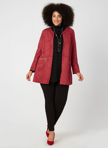 Vex - Veste longue en faux daim, Rouge, hi-res,  veste, longue, faux daim, manches longues, ouvert, poches, automne hiver 2019