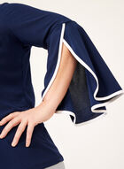 Contrast Piping Crepe Top, Blue, hi-res