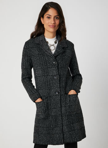 Plaid Print Sweater Coat, Black, hi-res,  sweater coat, knit, plaid print, notch collar, long sleeves, button down, pockets, knit, fall 2019, winter 2019