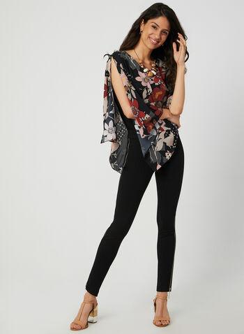 Blouse asymétrique à imprimé floral, Noir, hi-res,  haut en crêpe, poncho