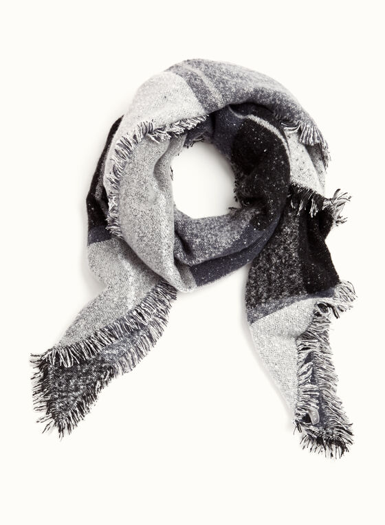 Striped Print Oblong Scarf, Grey, hi-res