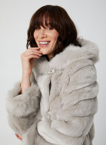 Nuage - Faux Fur Coat, Silver,  coat, faux fur, fixed hood, slash pockets, toggles, Nuage, fall 2019, winter 2019