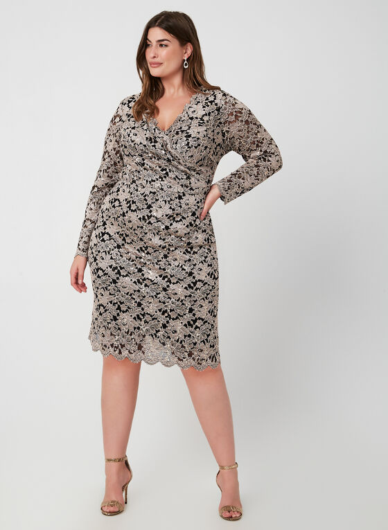 Sequin Lace Long Sleeve Dress, Black