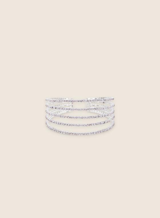 Multi-Row Crystal Cuff Bracelet, Silver