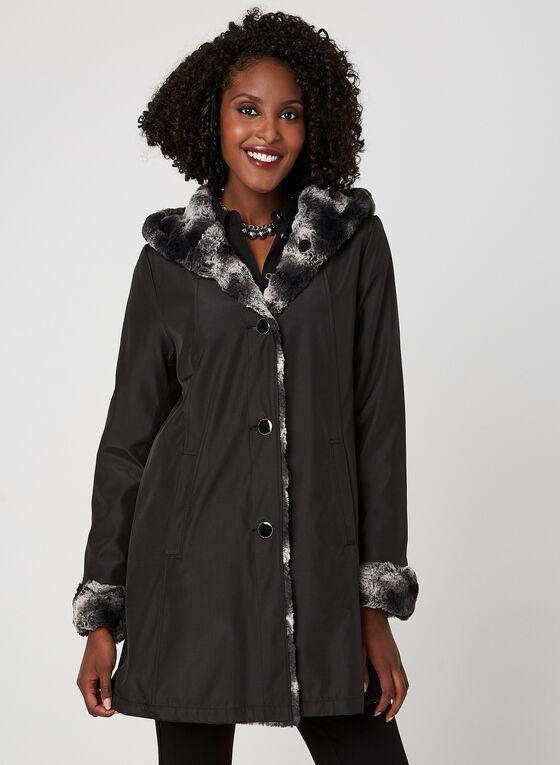 Manteau réversible avec fausse fourrure , Noir