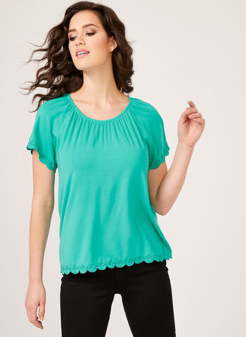 Embroidered Detail Top, Blue, hi-res