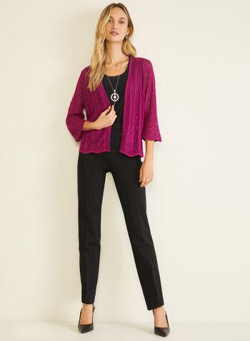 Cardigan ouvert en tricot pointelle, Violet,  cardigan, tricot, pointelle, ouvert, manches 3/4, automne hiver 2020