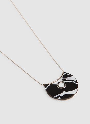 Collier court à pendant marbré, Noir, hi-res,  collier, court, demi-lune, marbré, chaîne serpent, baguette, perle, automne hiver 2019