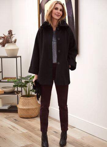Stretch Wool Blend Raglan Sleeve Coat, Black,  fall winter 2020, wool, raglan sleeve, buttons, pockets, faux fur, coat