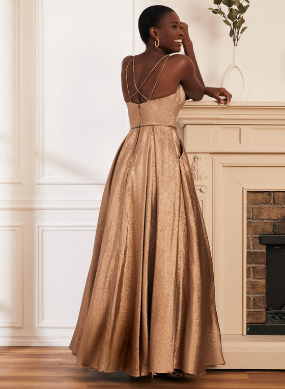 Metallic Glitter Ball Gown, Gold