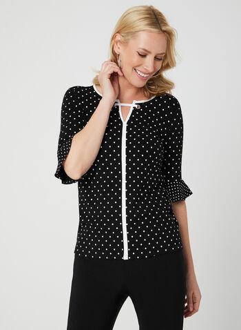 Polka Dot Print Top, Black, hi-res,  polka dot print, contrast trim, elbow sleeves, flutter sleeves, split neck, eyelets, spring 2019