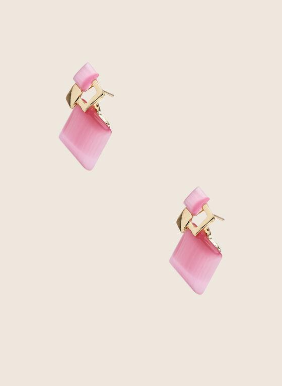 Stone Stud Earrings, Pink