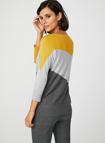 Studded Colour Block Sweater, Grey, hi-res