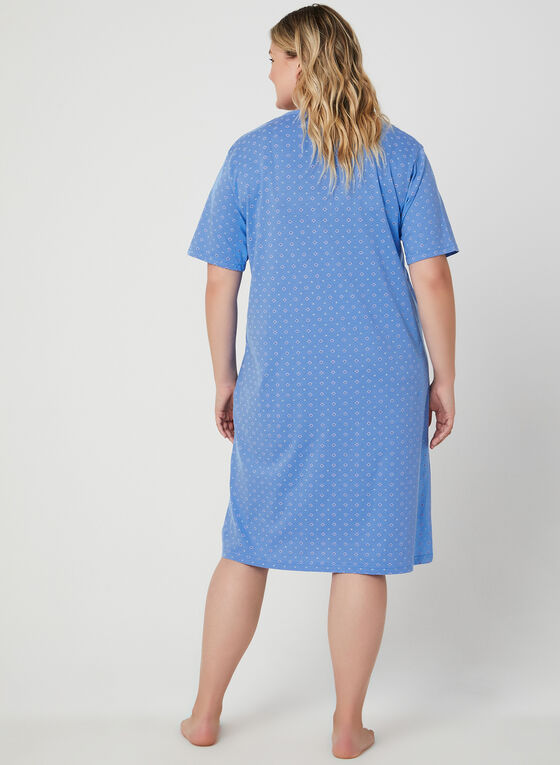 Bellina - Floral Print Nightgown, Blue