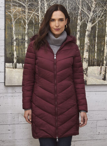 Vex - Quilted Vegan Down Coat, Red,  fall 2021, outerwear, coat, Vex, quilted, vegan down, faux down, down coat, stand collar, faux fur, detachable hood, hood, pockets, faux fur lining, chevron