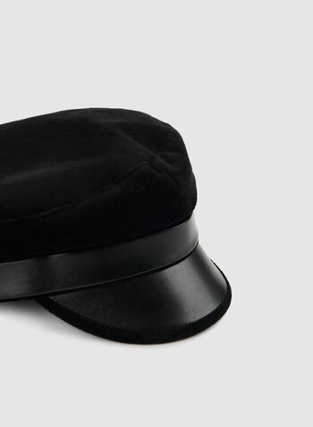 Velvet Cap With Pleather, Black,  velvet, hat, cap, velvet hat, velvet cap, pleather, pleather hat, pleather cap, fall 2019, winter 2019