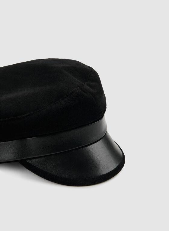 Casquette gavroche en velours et similicuir, Noir