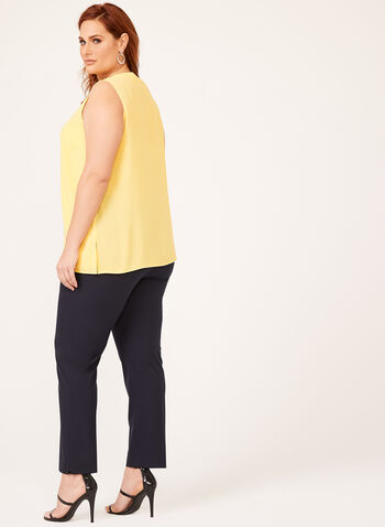 Sleeveless Crepe Top , Yellow, hi-res