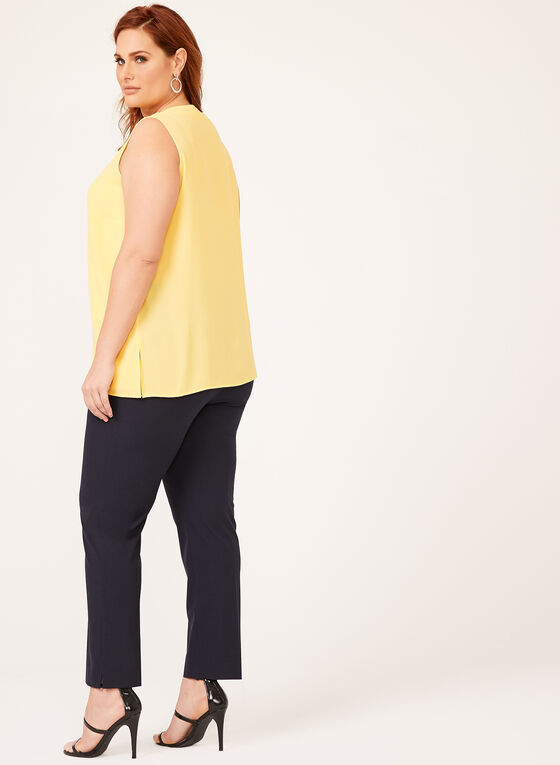 Sleeveless Crepe Top , Yellow, hi-res
