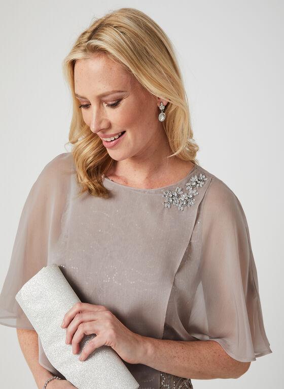 Sequin Lace Dress & Poncho Set, Brown, hi-res