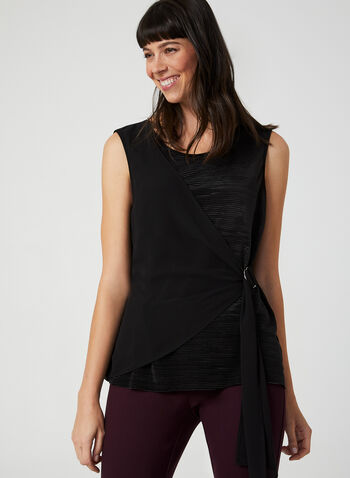 Chiffon Detail Sleeveless Top, Black,  Canada, top, sleeveless, chiffon, plissé, fall 2019, winter 2019