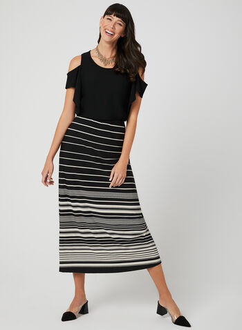 Stripe Print Maxi Skirt, Black, hi-res,  pull-on, jersey, long skirt, spring 2019