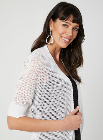 Open Front Pointelle Cardigan, White, hi-res