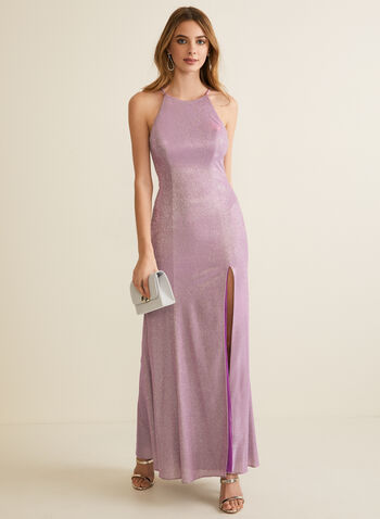 Metallic Glitter Gown, Purple,  prom dress, gown, column, apron neck, sleeveless, high slit, glitter, metallic, open back, spring summer 2020