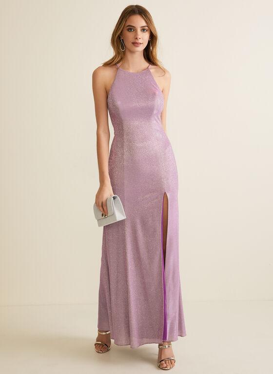 Metallic Glitter Gown, Purple