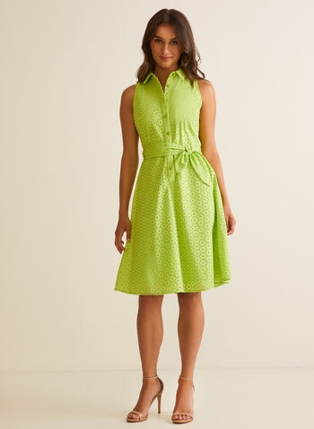 Eyelet Detail Shirt Dress, Green,  day dress, shirt collar, sleeveless, belt, cotton, button up, knit, spring summer 2020