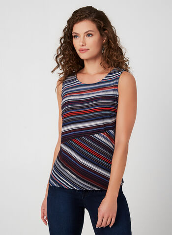 Jersey Stripe Sleeveless Top , Blue, hi-res,  top, jersey, stripe, sleeveless, fall 2019, winter 2019