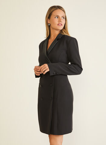 Long Sleeve Tuxedo Dress, Black,  cocktail dress, tuxedo, notched collar, long sleeves, faux leather, jersey, double-breasted, fall winter 2020