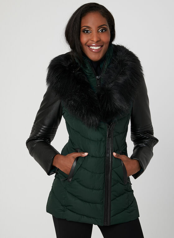 Ellabee - Faux Down Quilted Coat, Green, hi-res