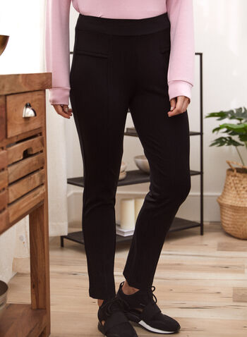 Pantalon jambe droite à enfiler, Noir,  pantalon, bas, jambe étroite, pull-on, à enfiler, taille élastique, extensible, surpiqûres, fausses, poches, fait au Canada, automne 2021