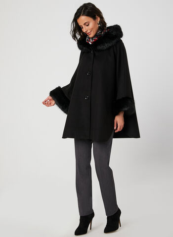 Faux Fur Trim Cape, Black, hi-res,  cape, faux fur, hood, button down, fall 2019, winter 2019