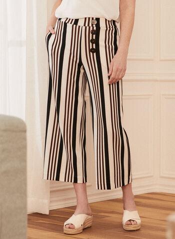 Pantalon pull-on gaucho à rayures , Blanc,  pantalon, gaucho, rayures, boutons, pull-on, à enfiler, printemps été 2021